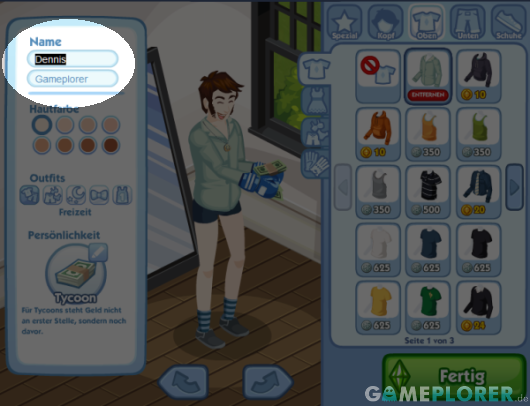 Name ändern in The Sims Social
